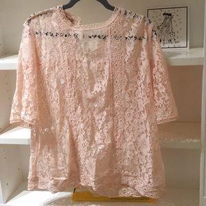 Loft short sleeve lace blouse